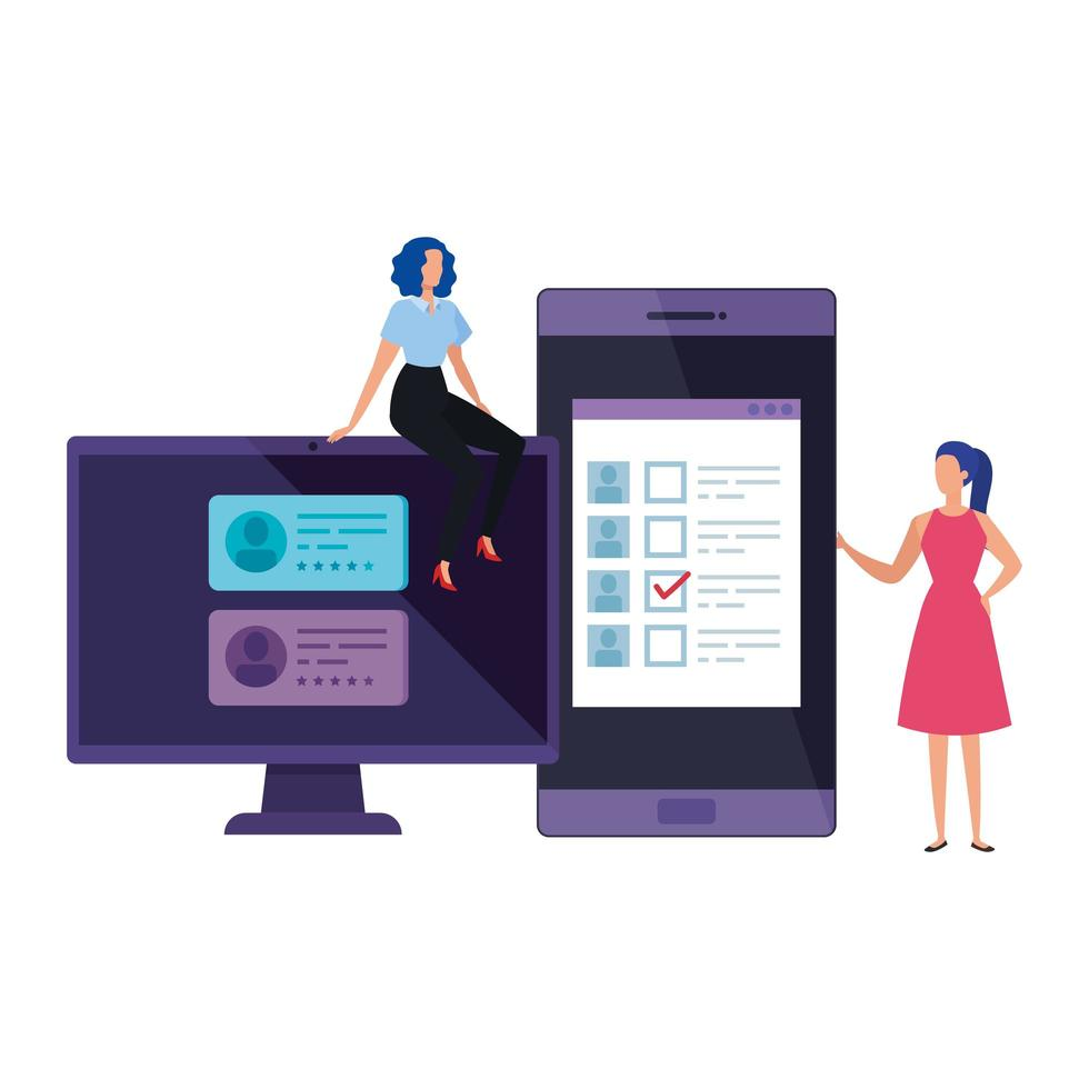 Geschäftsfrauen mit Computer und Smartphone zur Online-Abstimmung vektor