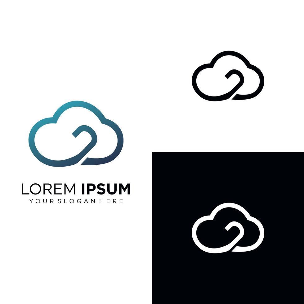 moln logotyp design mall set vektor