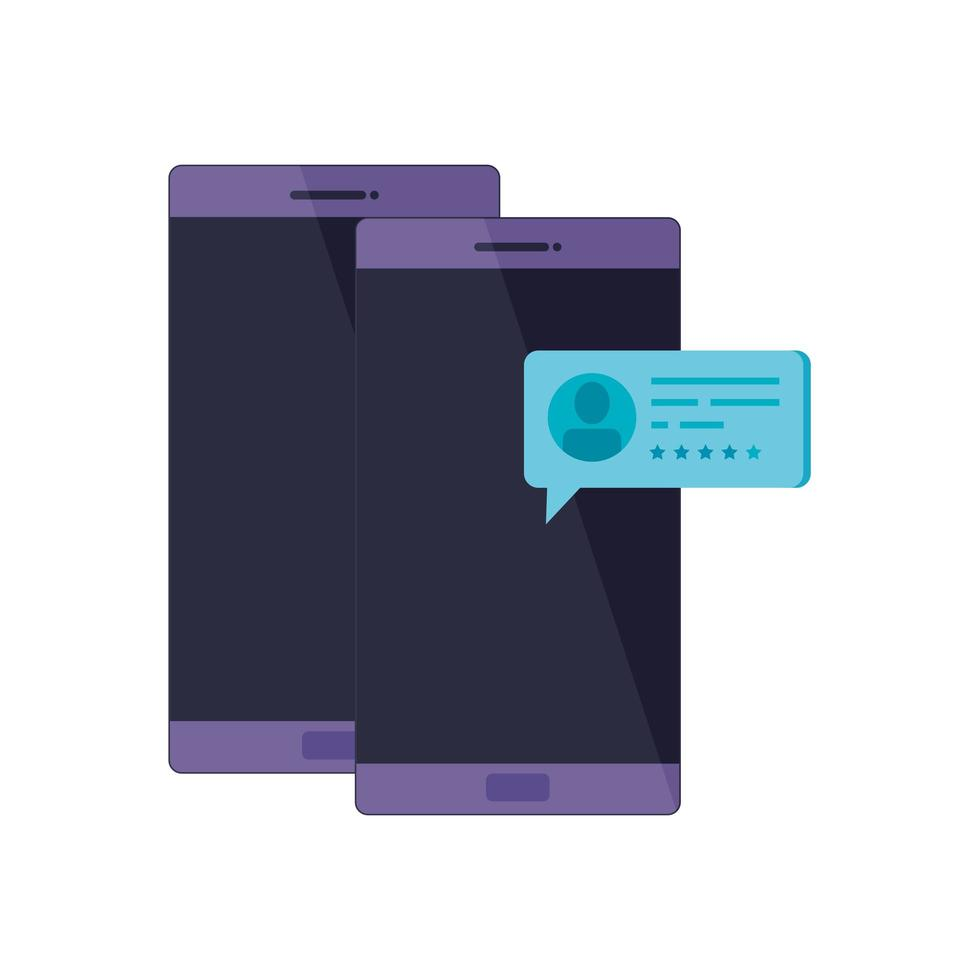 ställa in smartphone-enhet med pratbubblor vektor
