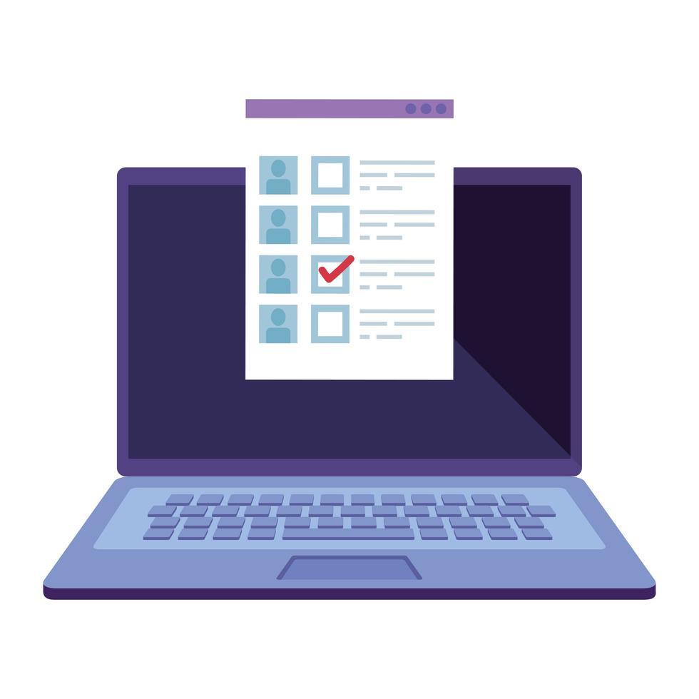 bärbar dator för omröstning online linje stilikon vektor
