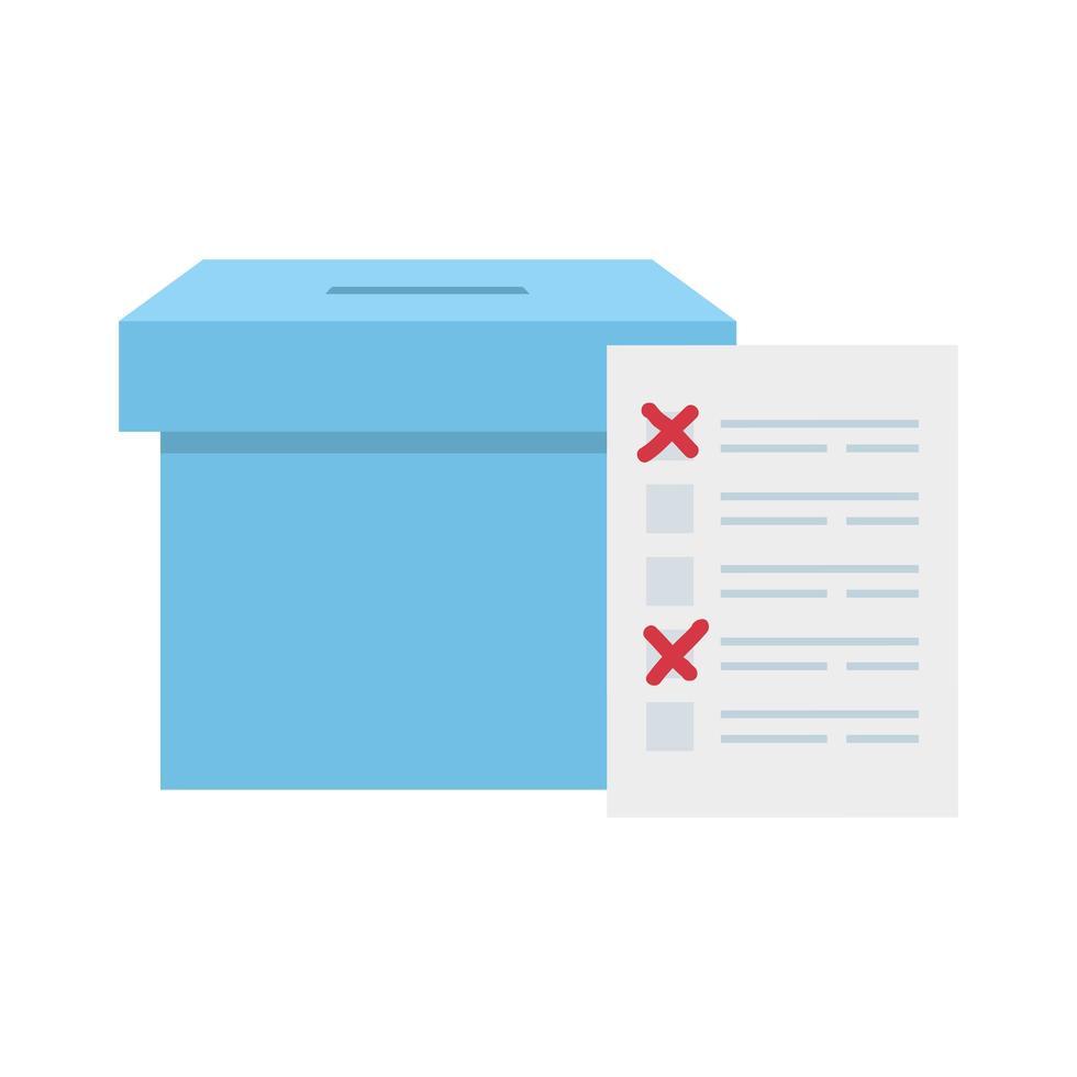 Wahlurne mit Abstimmungsformular isoliert Symbol vektor