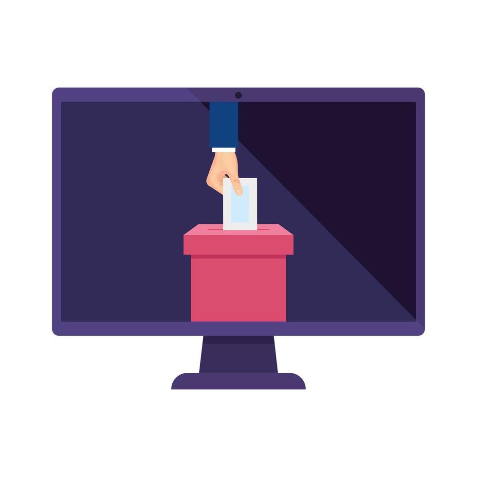 Computer und Hand mit Wahlurne isoliertes Symbol vektor