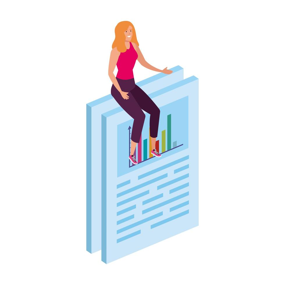 kvinna sitter i dokument med infographic vektor
