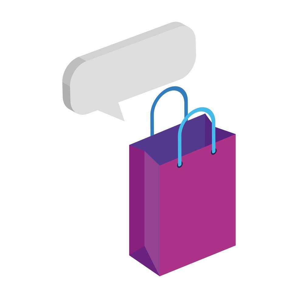 Tascheneinkauf mit Sprachblase isolierte Ikone vektor