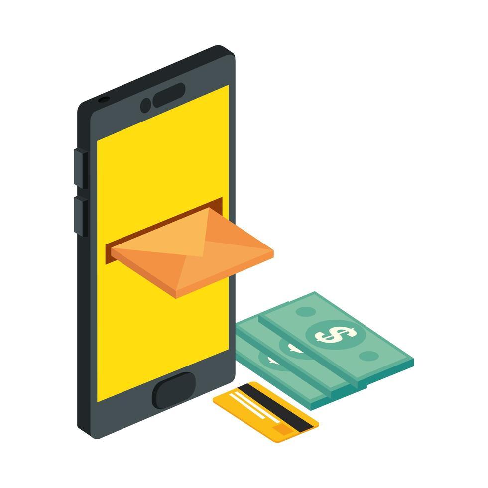 Briefumschlagpost mit Smartphone und Rechnungen vektor