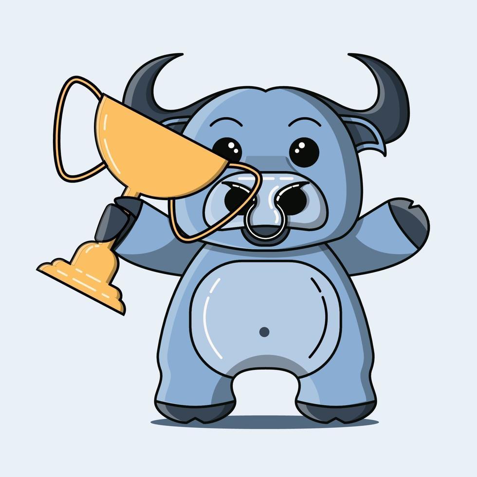 söt buffelmaskot som håller en trofé vektor