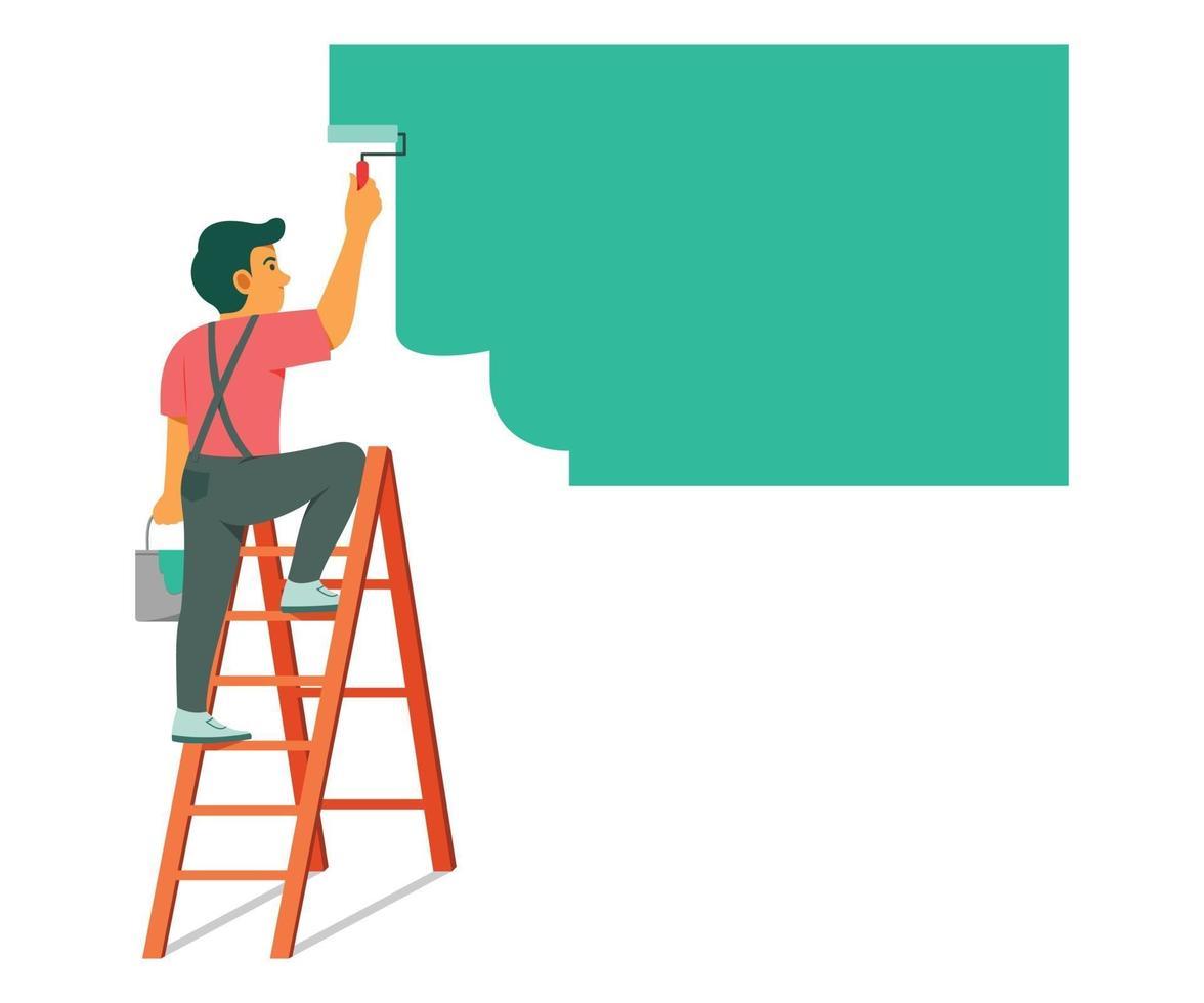 man på stege för att måla väggen för renovering. vektor