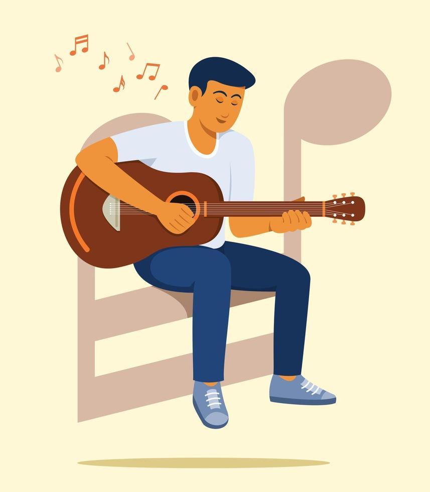 mannen sitter på stora noter och tycker om att spela gitarr. vektor