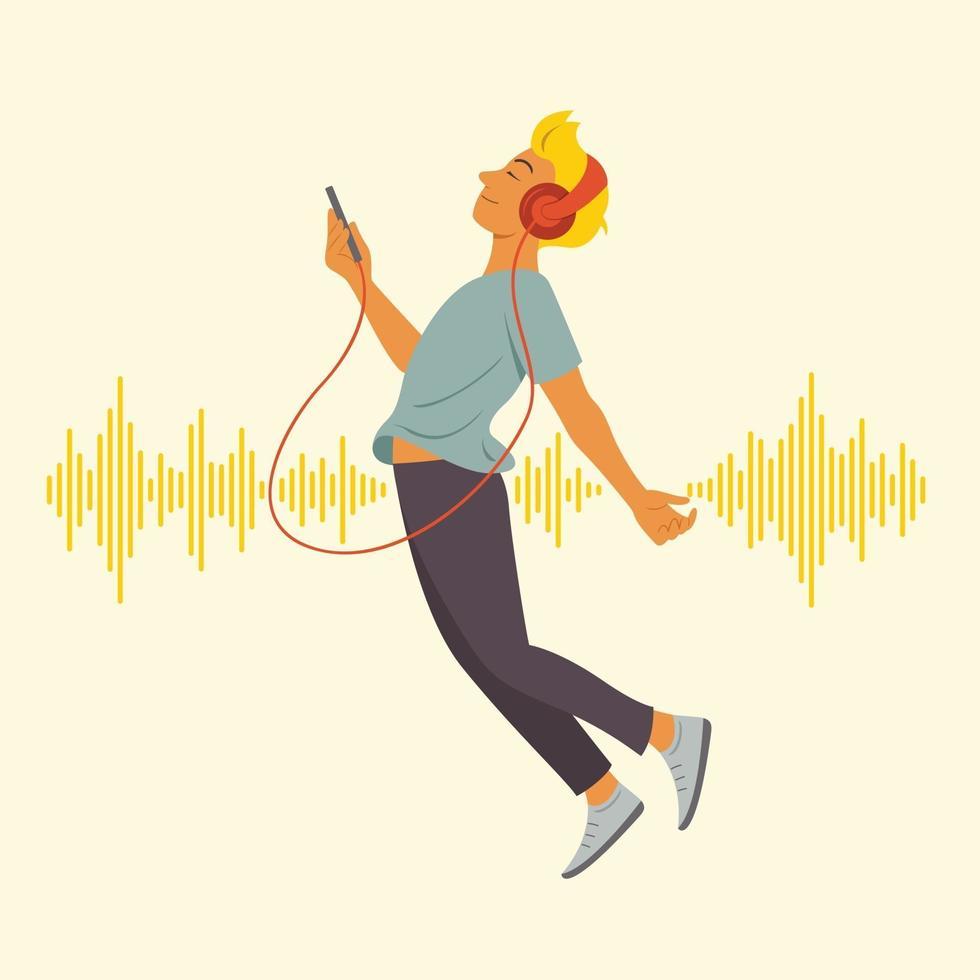 man tycker om att lyssna och flyta i rymden med bakgrund med ljudvågmönster. vektor