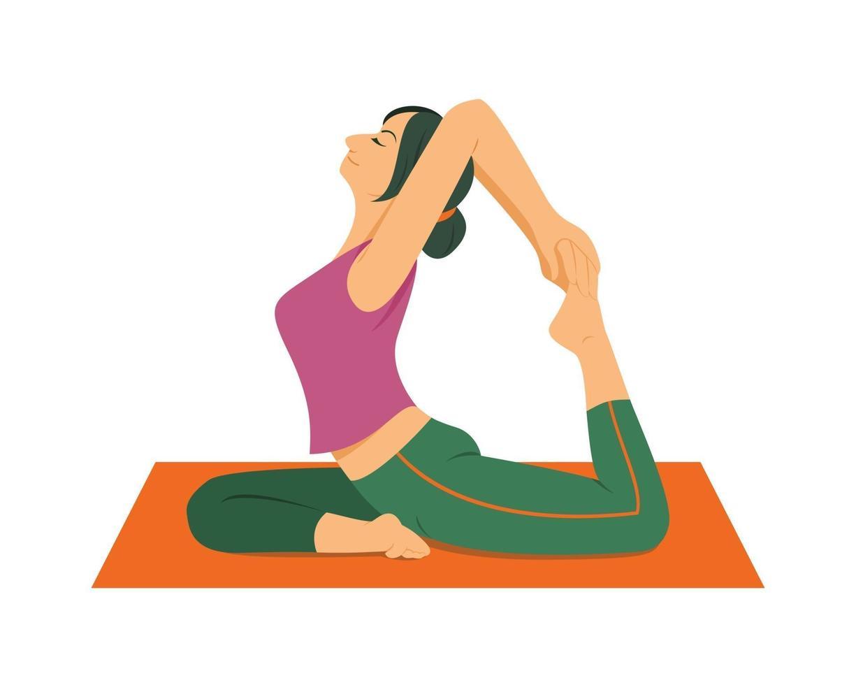 kvinna yoga träning hemma. vektor