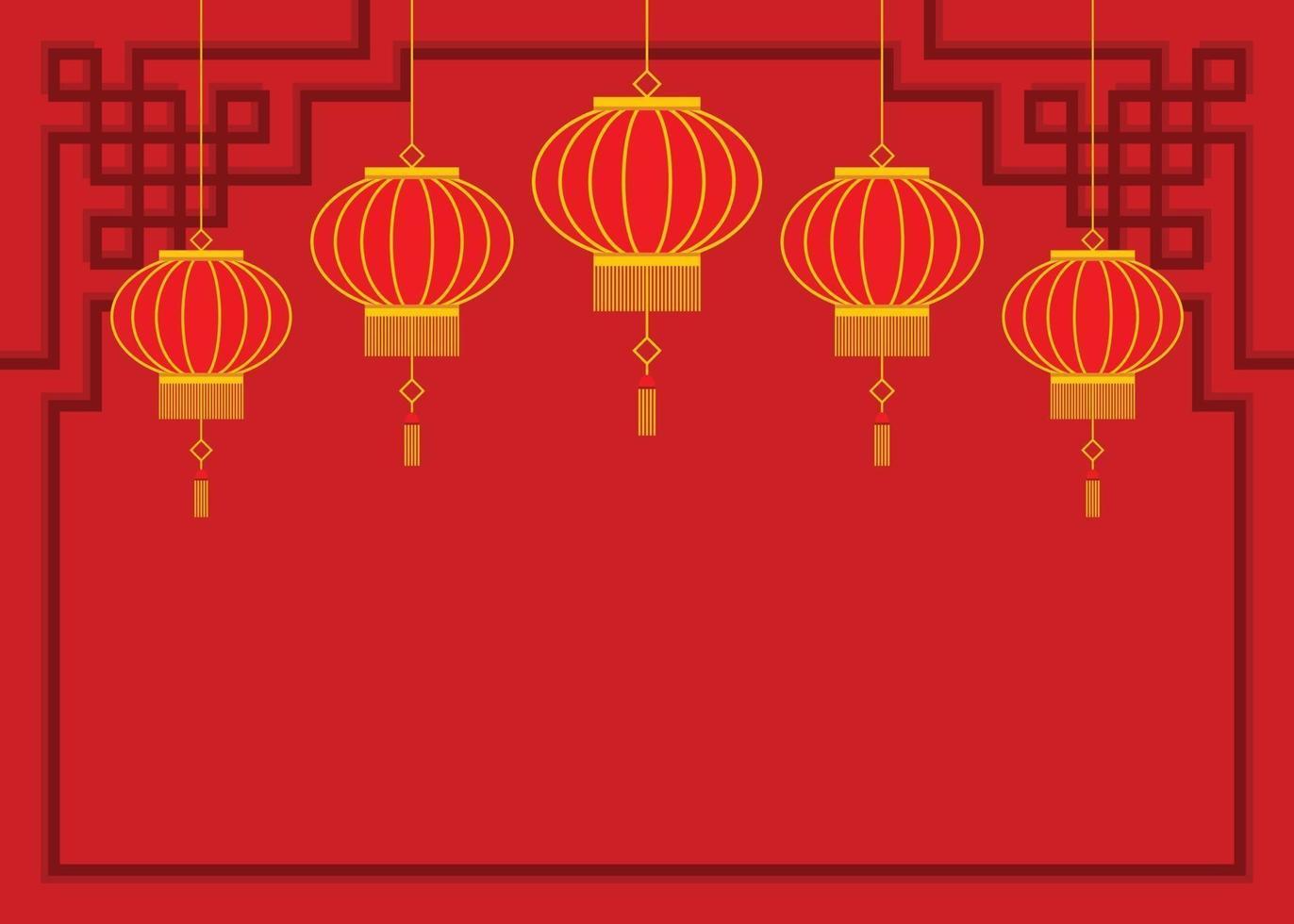 röd tapet av kinesiska lyktor. vektor
