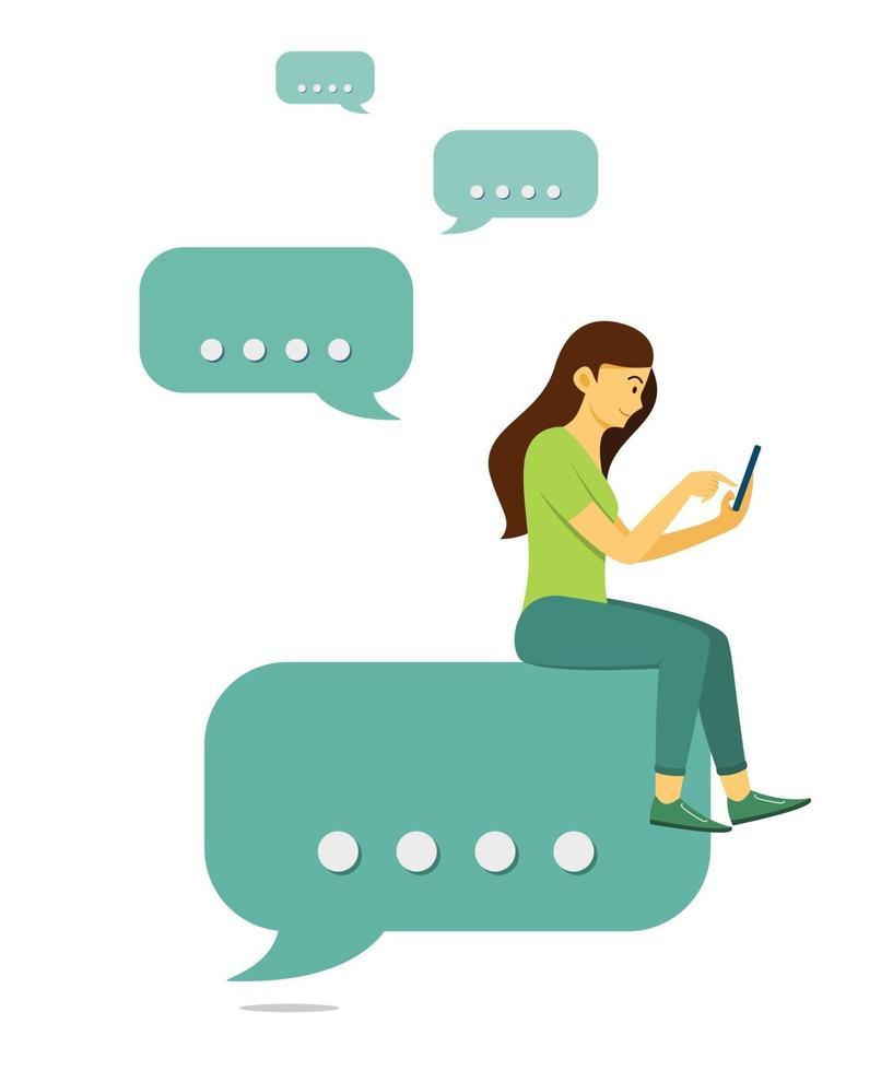 kvinna sitter på chatt bubbla ikon och chatta i mobiltelefon. vektor