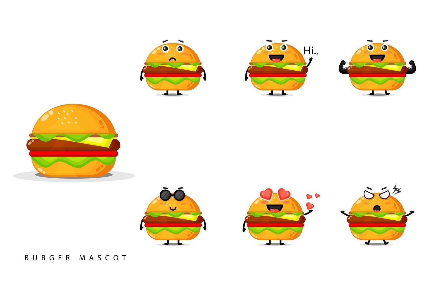 söt burger maskot designuppsättning vektor