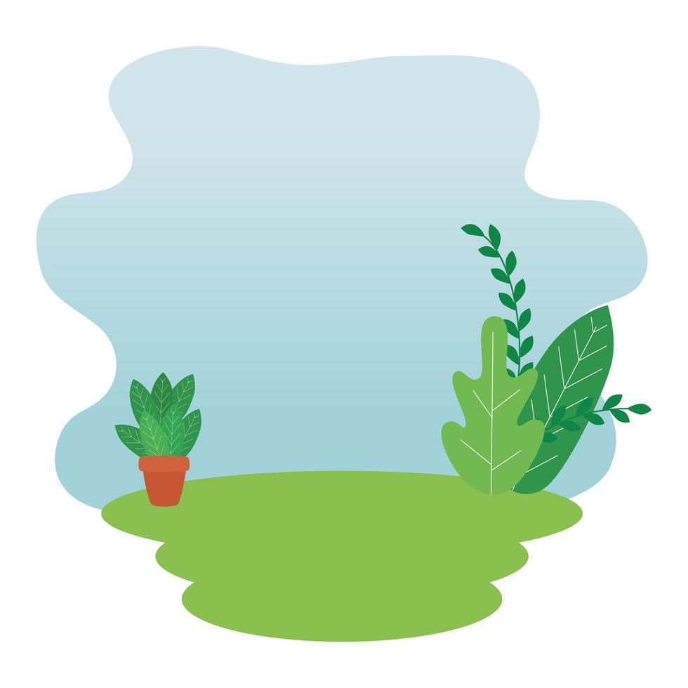 blad trädgård med krukväxt landskap scen vektor