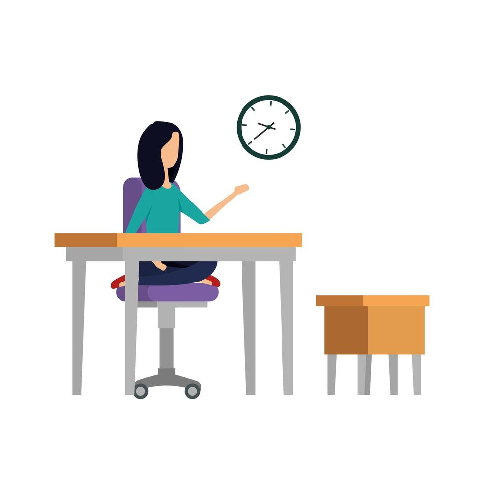 elegant affärskvinna på kontoret med klockan vektor