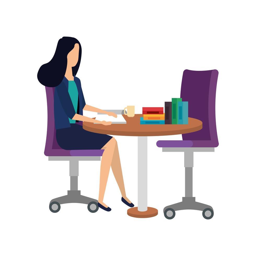 elegant affärskvinna i bord med böcker vektor