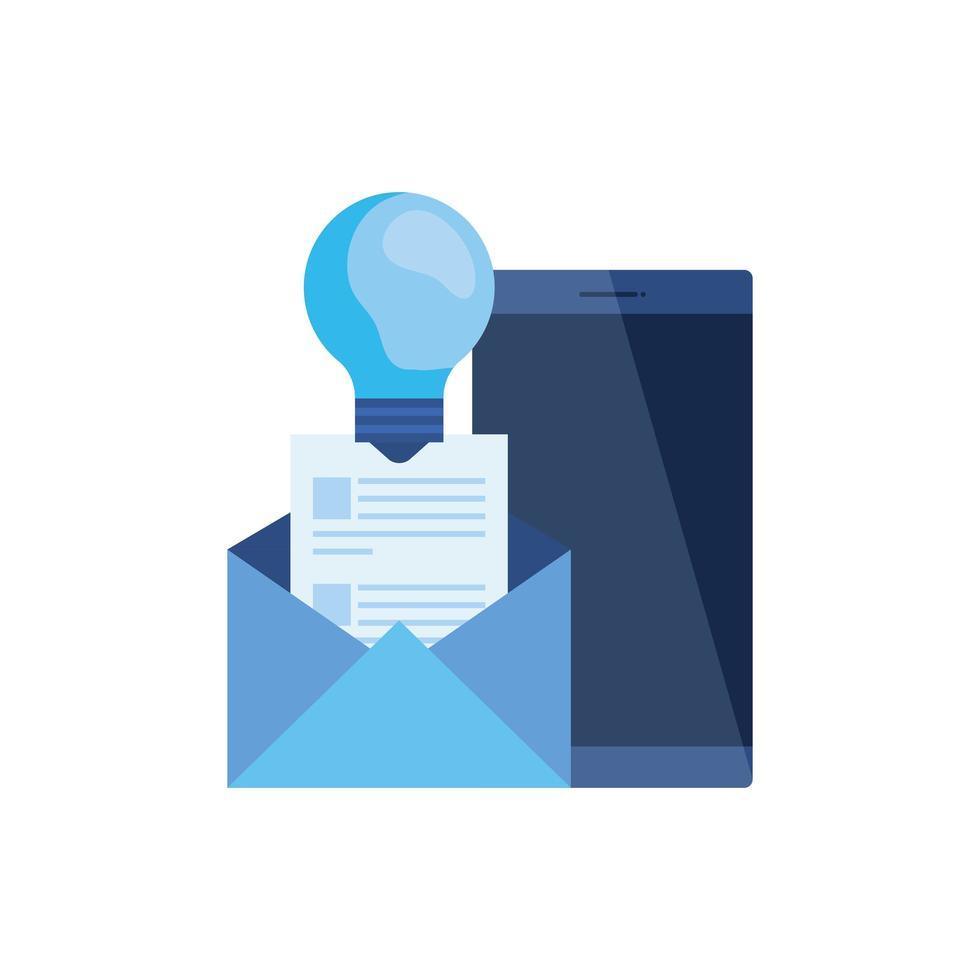 smartphone-enhet med kuvert e-post vektor
