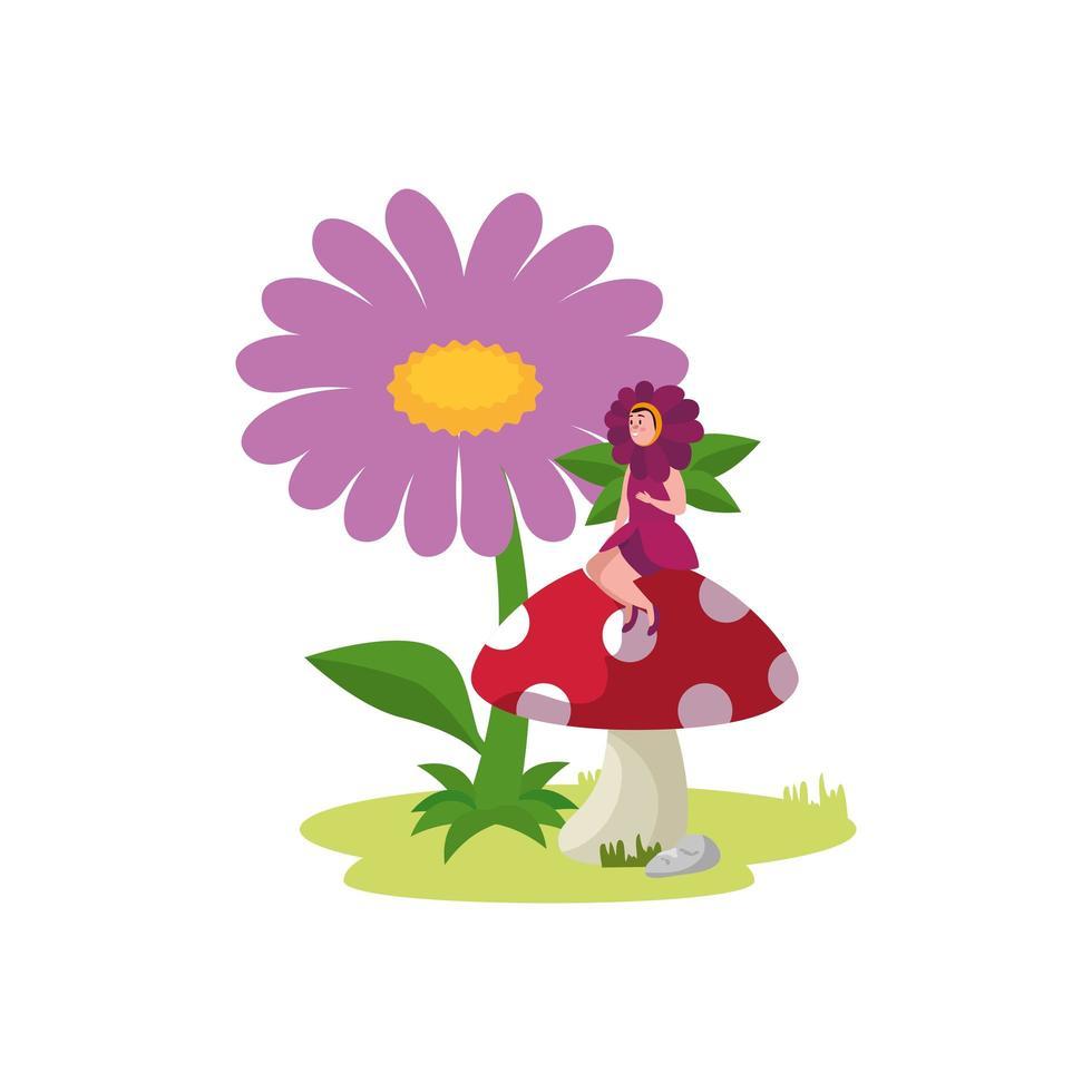 kvinna förklädd av blommasammanträde i svamp vektor