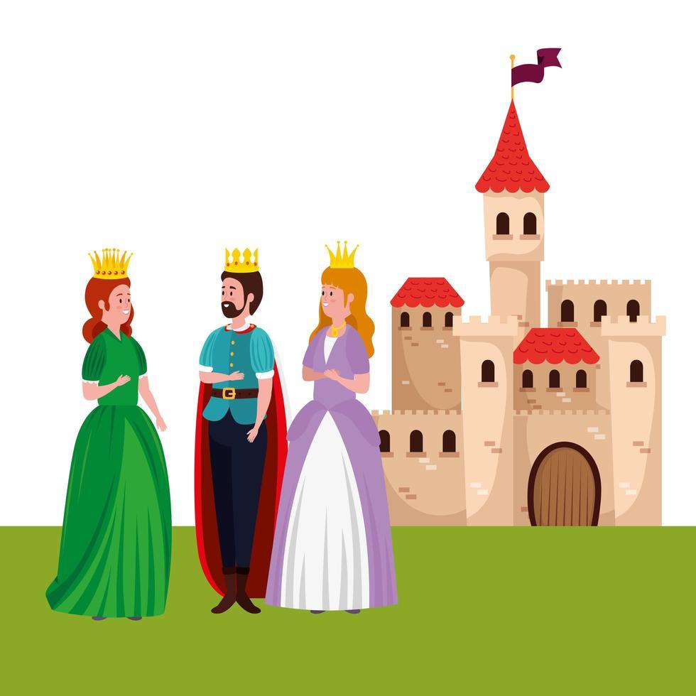König mit Prinzessinnen und Burg vektor