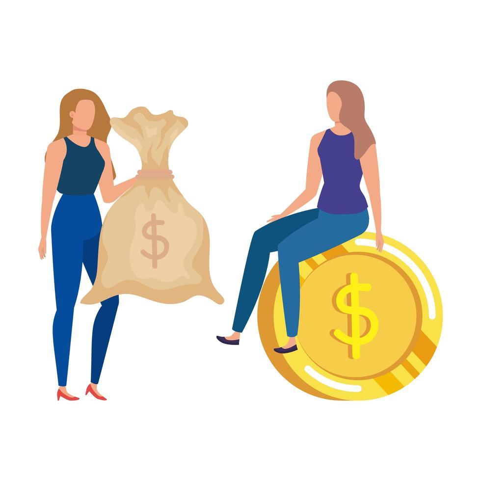 unga kvinnor med mynt och pengar säck dollar vektor