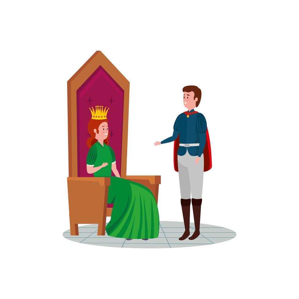 vacker prinsessa med prins avatar karaktär vektor