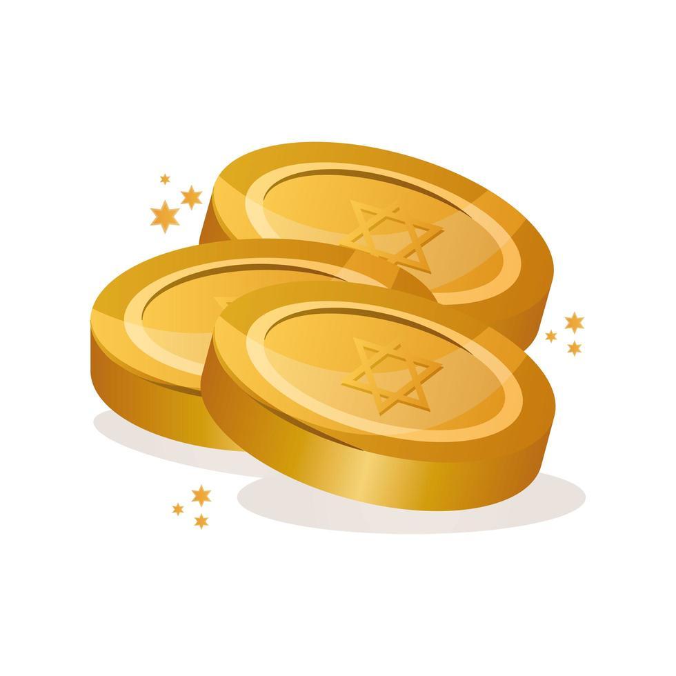 mynt med judiska stjärnor Hanukkah firande ikon vektor