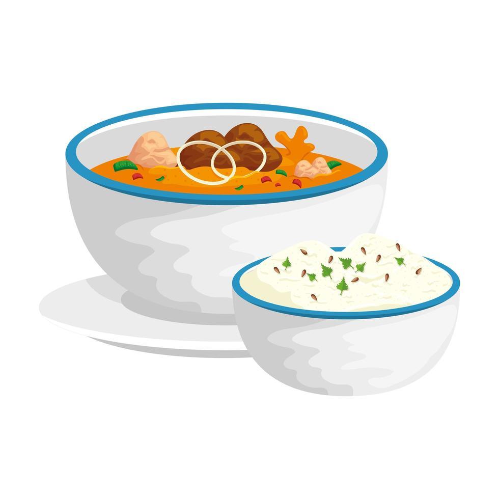 skål med ris och soppa isolerad ikon vektor