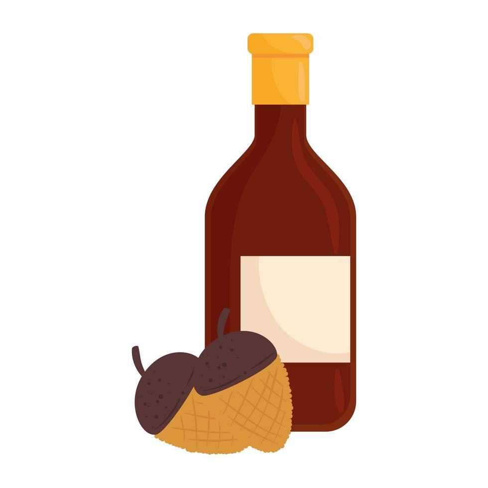 vinflaska dryck och torra frön isolerade ikon vektor