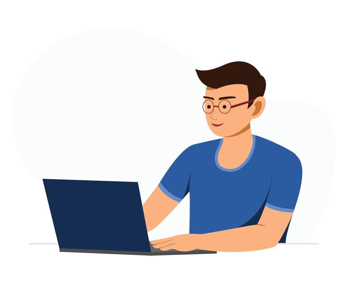 frilansande man arbetar online. vektor