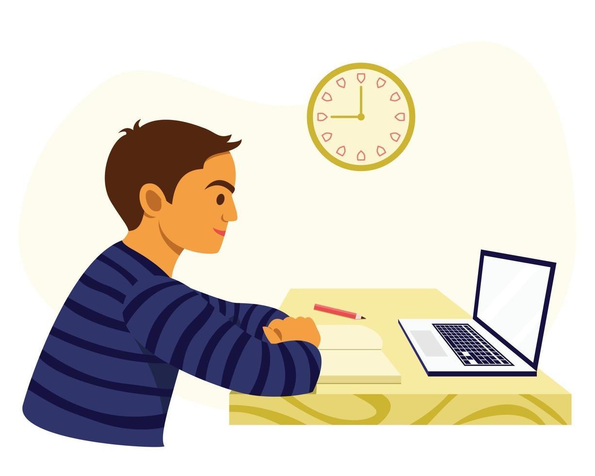 pojken lär sig hemifrån genom online-lärande. vektor