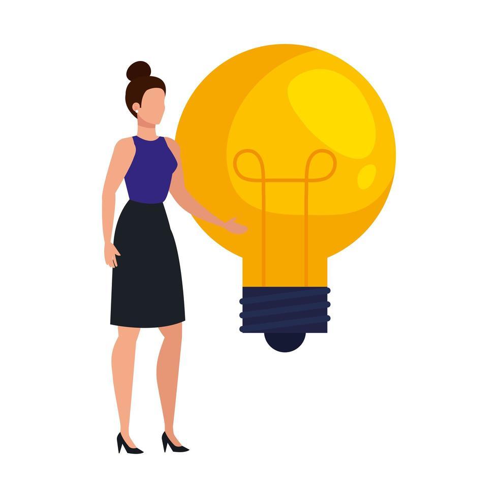 elegant affärskvinna med glödlampa avatar karaktär vektor