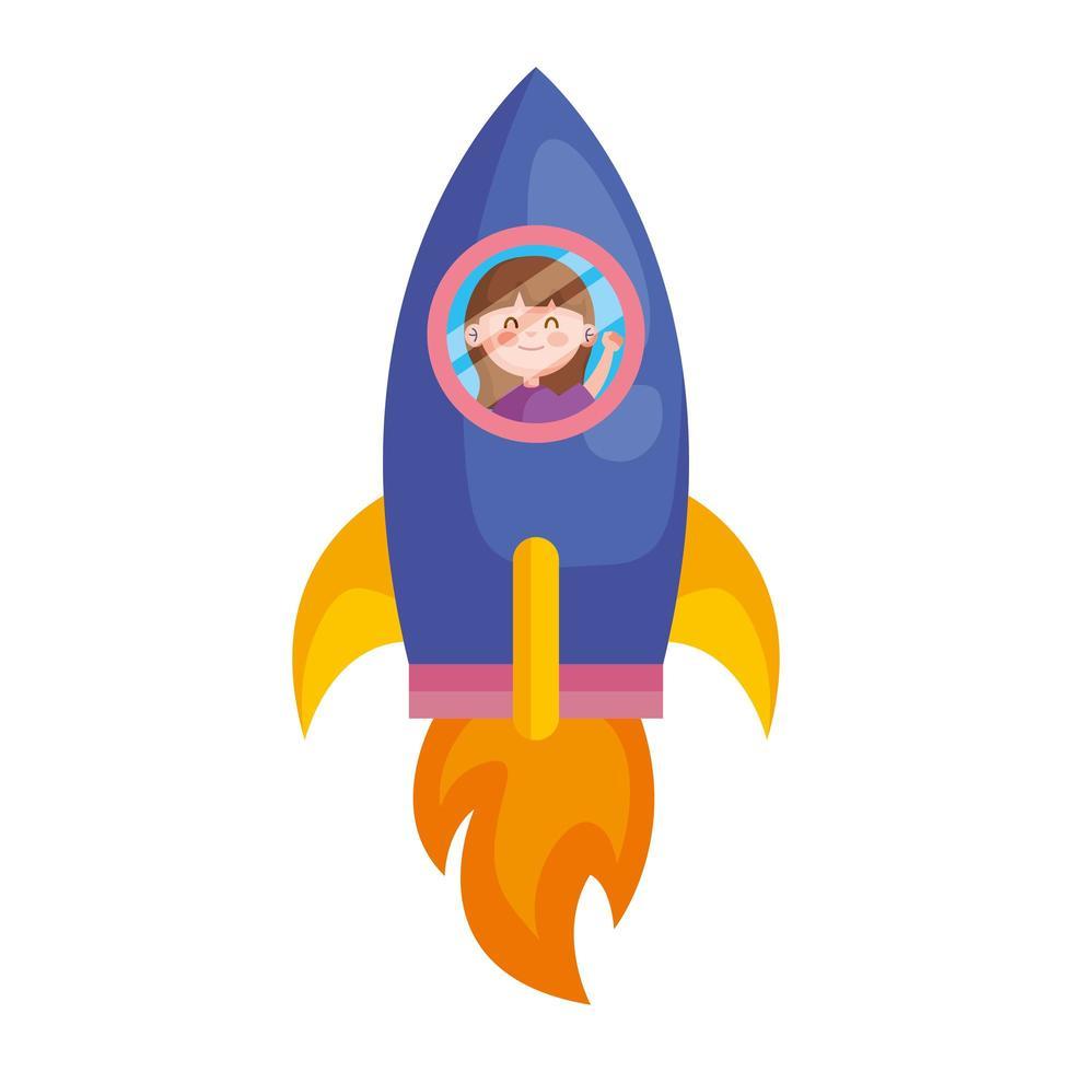 glad söt liten flicka i raket karaktär vektor