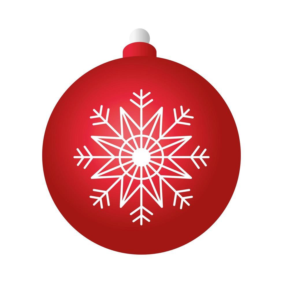 Frohe Weihnachten rote Kugeldekoration mit Schneeflocke vektor