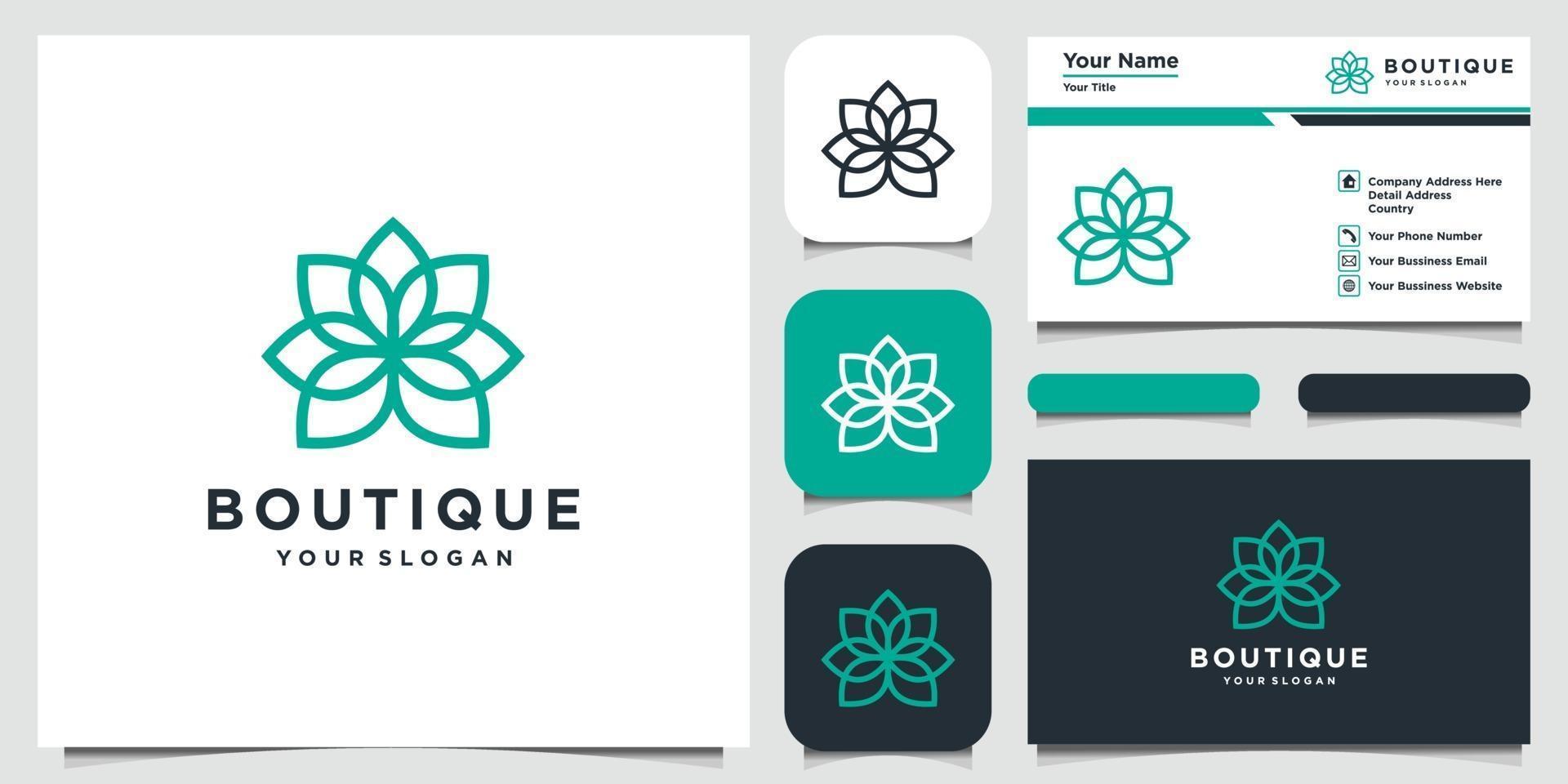 abstrakt blomma med logotyp design och visitkort för linje konststil vektor