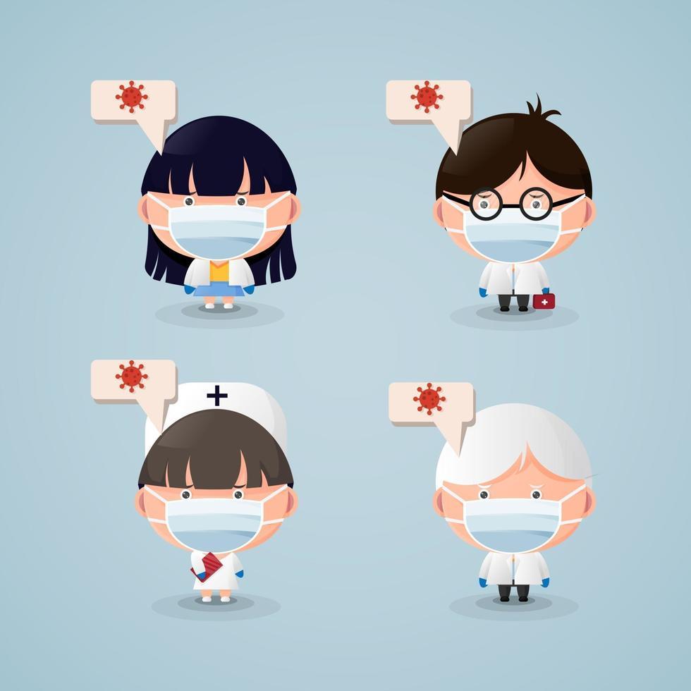 seriefigurer läkare och sjuksköterskor som bär medicinska masker vektor