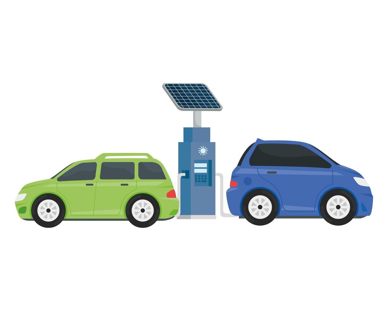 elektrisk ekologibensinstation med lila och gröna bilar vektor