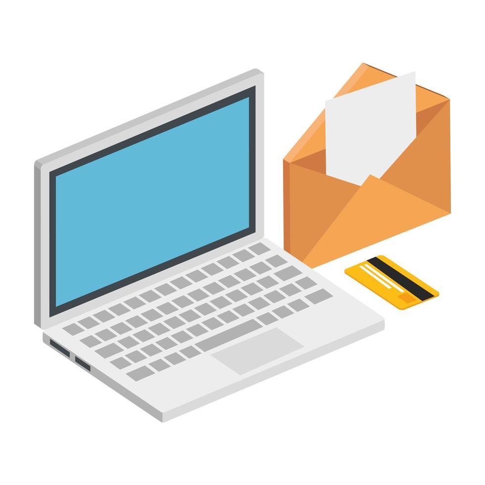 Laptop mit Umschlag und Kreditkarte vektor