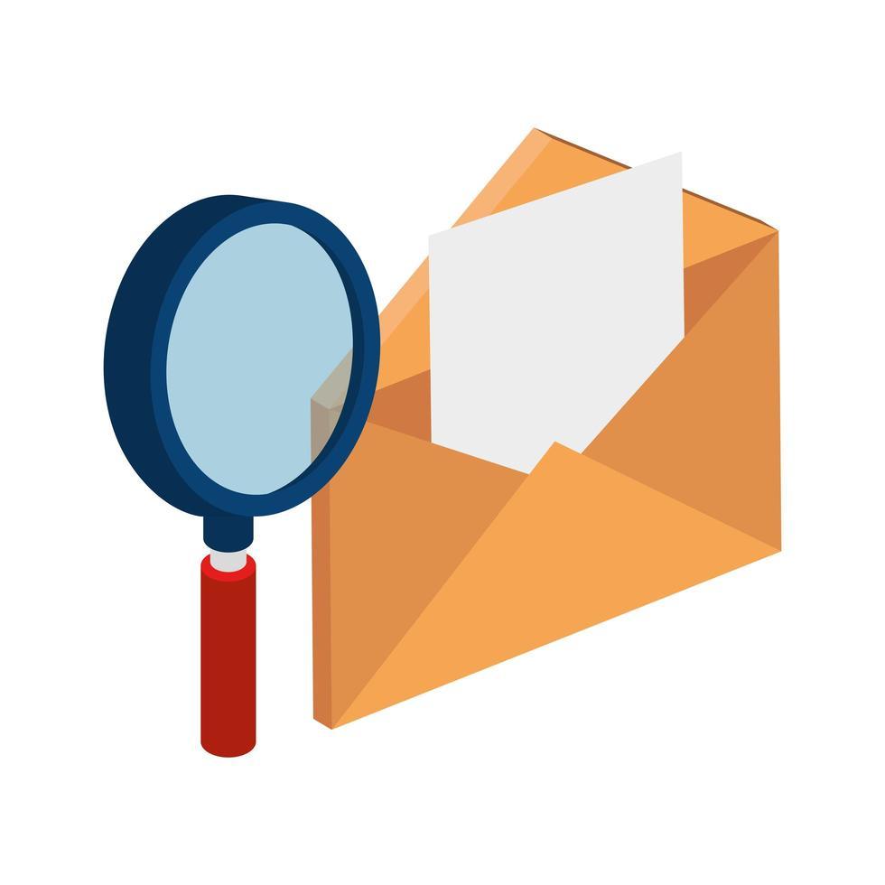 kuvertpost med förstoringsglas isolerad ikon vektor