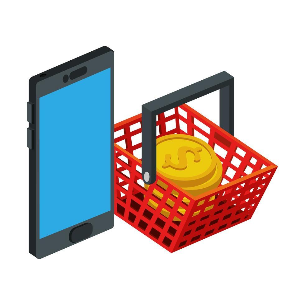 Smartphone-Gerät mit Korb einkaufen und Münzen stapeln vektor