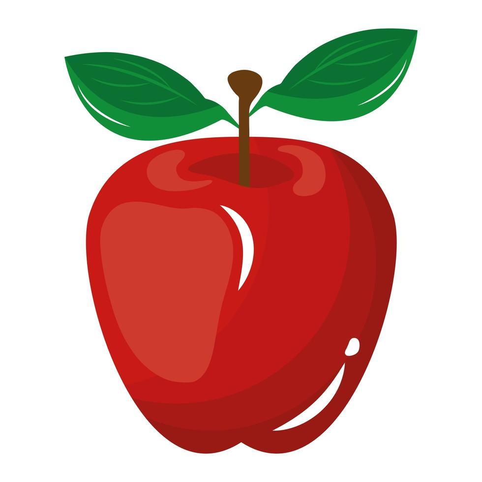 äpple färsk frukt isolerad ikon vektor