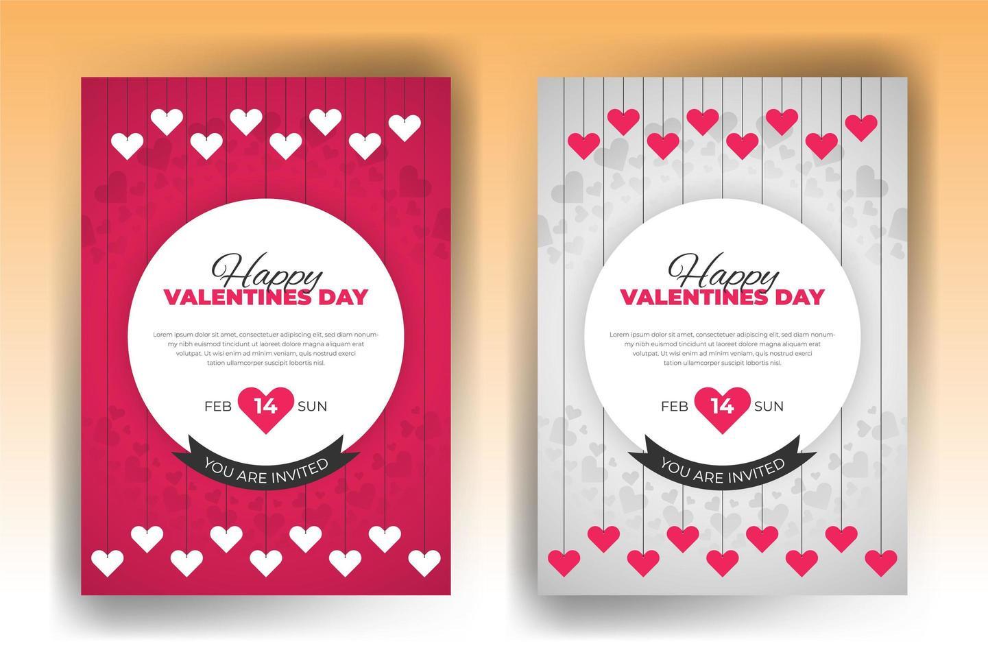 Alla hjärtans dag inbjudan kort formgivningsmall vektor