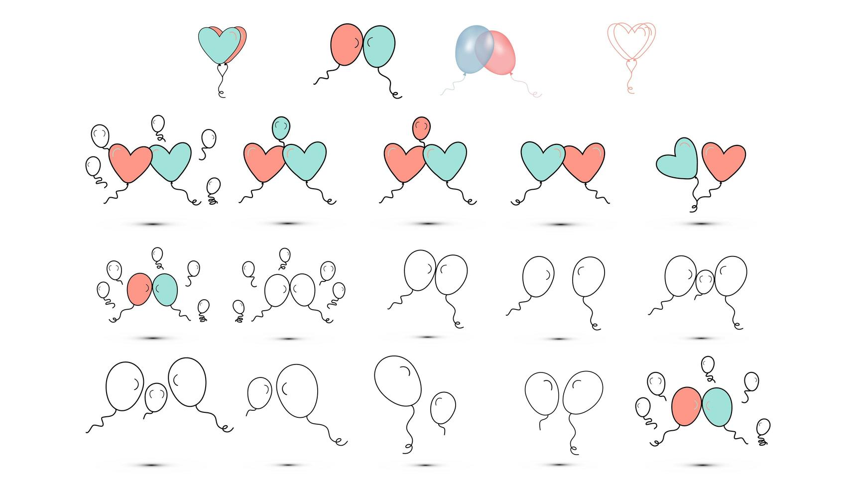 enkla platta stilikoner av ballonger för kärleksfesten på alla hjärtans dag eller 8 mars. vektor