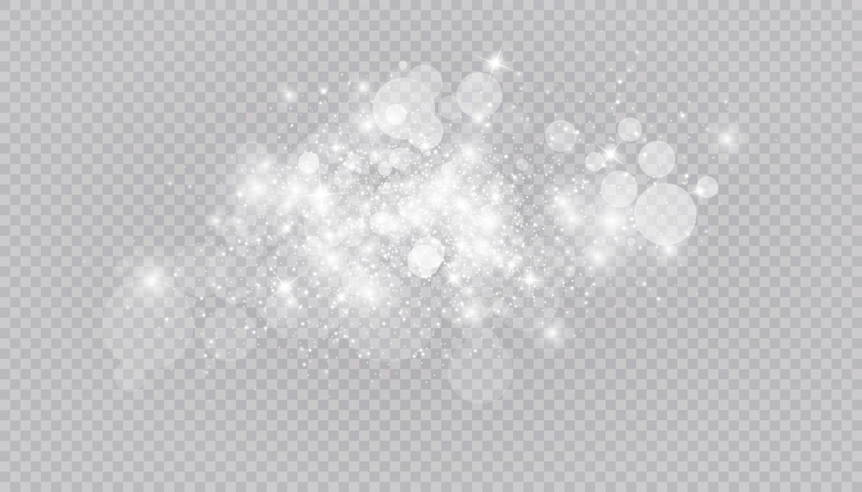 Glühender Lichteffekt mit vielen isolierten Glitzerpartikeln vektor