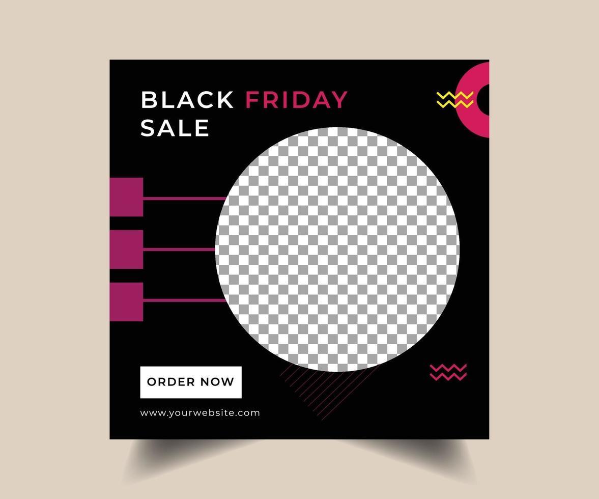 svart fredag sociala medier postdesign vektor