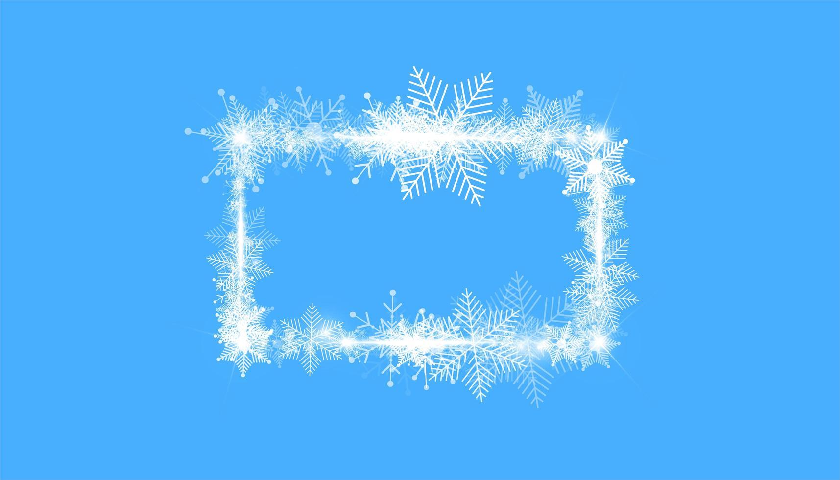 rechteckiger Winterschneerahmenrand mit Sternen, Funkeln und Schneeflocken auf Blau vektor