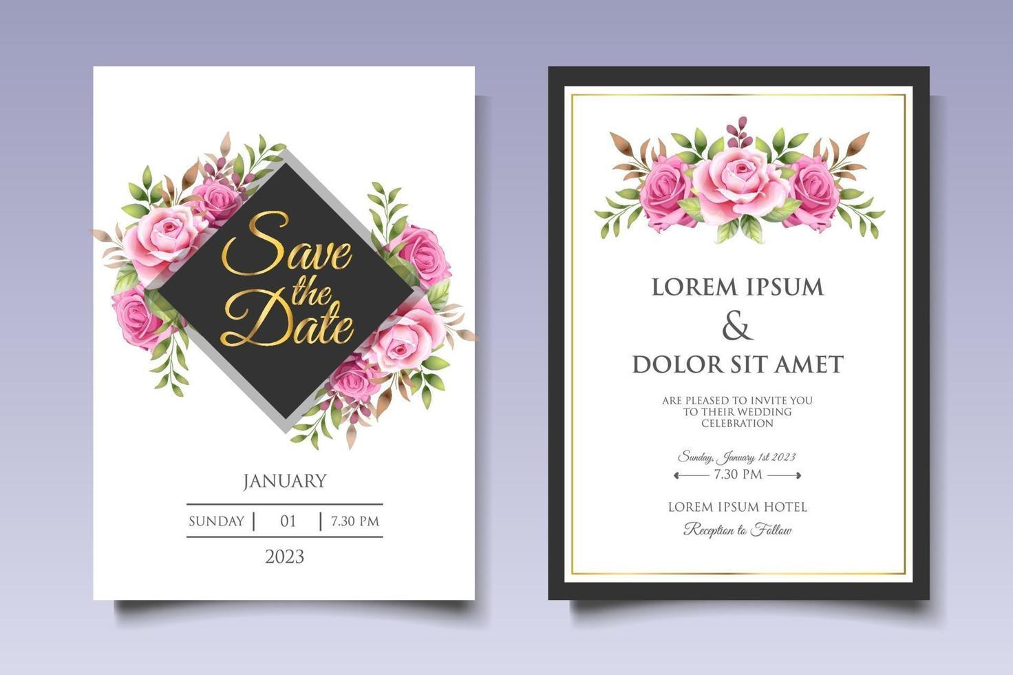 vacker hand ritning blommig bröllop inbjudan mall vektor