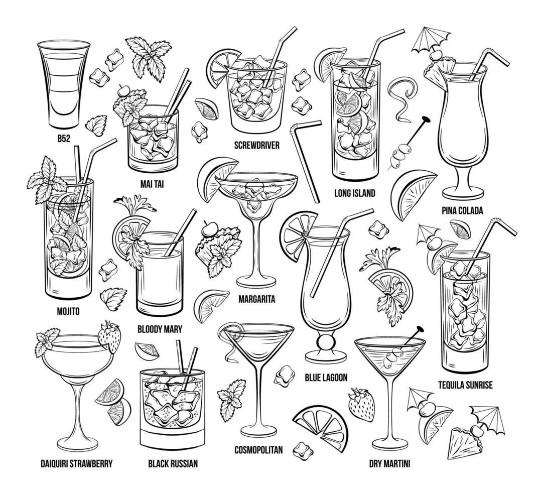 sommaren alkoholhaltiga cocktails vektor gravyr set. handritade drycker eller drycker.