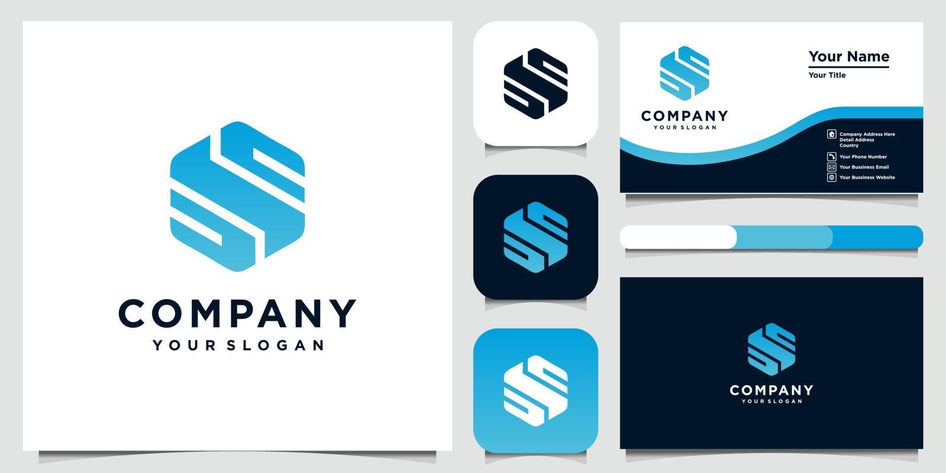 Konzept-Logo-Designvorlagen des kreativen Buchstabens und Visitenkarte vektor