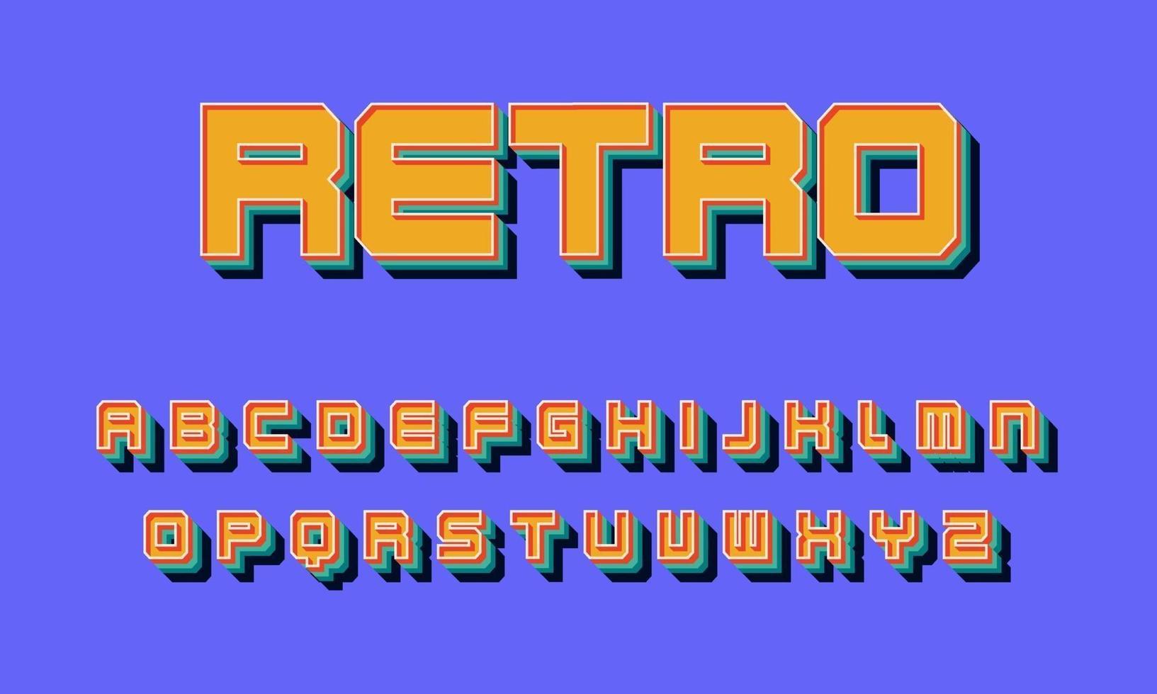vektor av stiliserade retro teckensnitt alfabetet