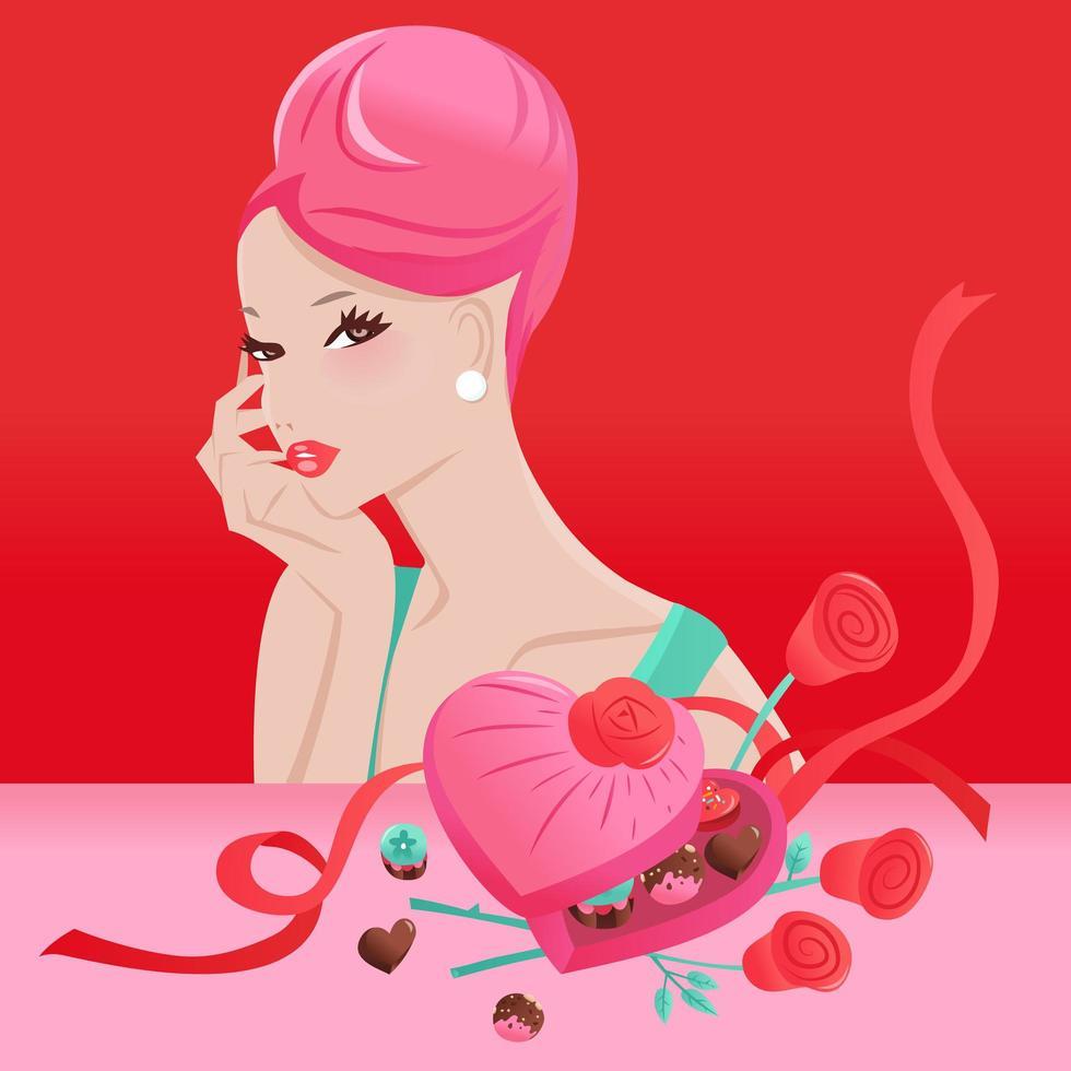 glamorös chic updo hår flicka alla hjärtans dag gåva vektor